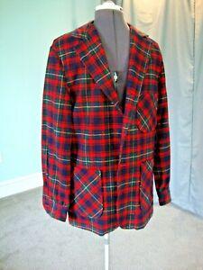 Vintage Pendleton Mens Large Shirt Jacket Wool Plaid, late 60's-70's