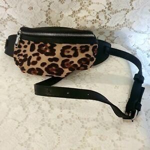 Sportsgirl Bumbag Fannypack Leopard Print Black Zip Front  Adjustable Strap