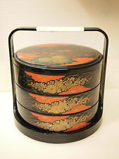 BLACK LACQUERED PLASTIC ASIAN 3 TIERS STACKING LUNCH BOX JUBAKO BENTO  made in