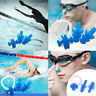 Silicone Ear Plugs & Nose Clip Set + Case Swimming Water Pool Sea New 7 Colours