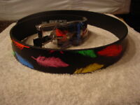 FEATHER PRINTED LEATHER BELT AND BUCKLE