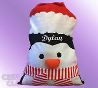 Christmas PENGUIN Santa Sack or stocking PERSONALISED with name present xmas bag