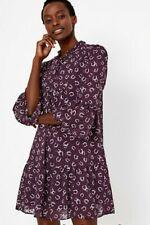 M&S Ladies Dobby Horseshoe Print relaxed mini Dress tie neck Purple size18 BNWT