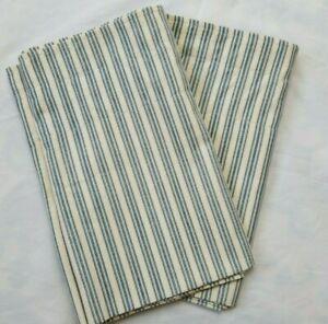 2 Waverly Blue Cream Ticking Stripe Valances Cotton Farmhouse Nautical 78 x 15