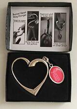 NIB HEART Shaped Bag Hanger Beautiful Nickel Finish Detachable Charm SHIPS FREE