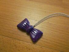 Collier sautoir pendentif Nœud Violet marbré Fait-main Unique Polymère Fimo