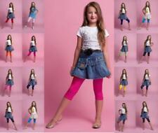 2 Stück Kinder 3/4-Hosen Leggings, 95% Baumwolle, Größen 110-146, viele Farben