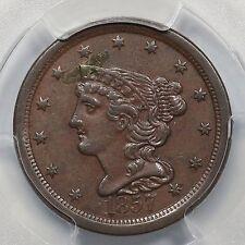 1857 C-1 PCGS AU 53 Braided Hair Half Cent Coin 1/2c