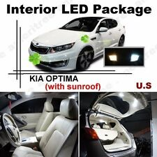 White LED Lights Interior Package Kit for Kia Optima w/ Sunroof 2011 & Up 9Pcs