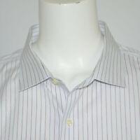 BROOKS BROTHERS Non Iron Striped White Supima Cotton Dress Shirt Sz 20 - 37