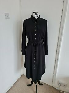 MISS MIRA LONG SHIRT DRESS BLACK SIZE 40 UK 12