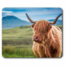Computer Mouse Mat - Hairy Highland Cow Scotland Horns Office Gift #15762