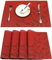 Placemats Set of 8 Table Mats Heat Resistant Non Slip Washable 17.7''X11.8'' Red