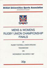 Brunel University College vLoughborough B.U.S.A Final 19 Mar 1997 RUGBY PROG
