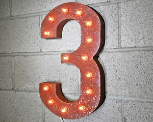 "21"" NUMBER 3 THREE Plug-In Vintage Style Rustic Metal Marquee Light Up Sign"