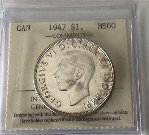 Silver Dollar 1947 B  ICCS MS-60
