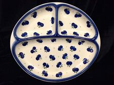 "Oblong Sectioned Polish Boleslaweic Pottery Section Serving Plate 11"" Across"
