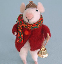 Pin Felt Needle Felted Collectible Mouse with Bell & Acorn Cap Figure Ornament