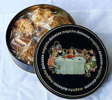 "Italian gift tin / food storage - ""Magiche Dolcezze"" (Sweet Magic lge rnd)"