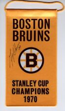 Gerry Cheevers Boston Bruins Autographed 1970 Stanley Cup Champions mini banner
