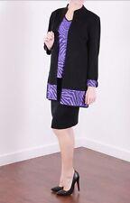 MING WANG Black Grapevine Purple Zebra Print Knit Jacket & Shell S