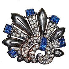 Impressive Vintage Unsigned R. DeRosa  Sterling Fan Brooch Pin