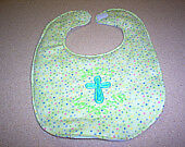 Jesus Loves Me With Cross on Green Embroidery Handmade Baby Bib