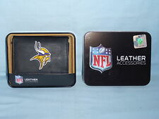 Minnesota Vikings Embroidered Leather Trifold Wallet Black