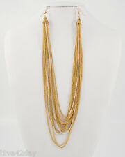 Two Tone Gold & Silver Metal Chain Strand Earlace Collar Earrings Lace Necklace