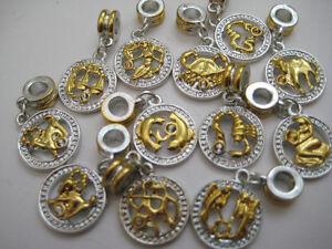 Zodiak Horroscope Silver/Gold Plated Dangle Charms for European Bracelets