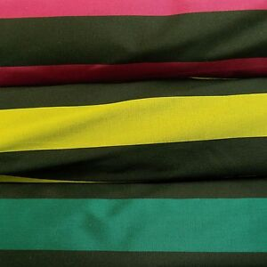 Taffeta Stripe Dressmaking Fabric - Magenta, Lime, Teal, Green, Pink, Yellow
