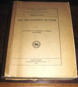 THE ORE DEPOSITS OF UTAH by Butler 1920 Prof Paper 111 Mines Mining Minerals