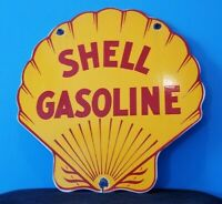 VINTAGE SHELL GASOLINE PORCELAIN GAS SERVICE STATION PUMP METAL AD SIGN