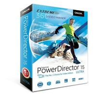 Cyberlink PowerDirector 15 Ultra - Bonus Free AudioDirector 6 -Boxed Version New