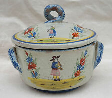 MALICORNE Breton Lidded Tureen Casserole French Hand Painted Faience 19th C