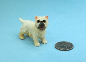 "Adorable Dollhouse Miniature West Highland Terrier ""Westie"" Dog #SDA006"
