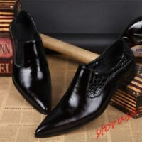 Mens British Black  Genuine Leather Pointed Toe Dress Slip on Formal Shoes Size