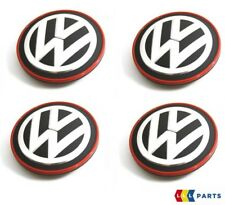NEW GENUINE VOLKSWAGEN GOLF MK7 GTI GTD RED CHROME ALLOY WHEEL CENTER CAPS 4PCS