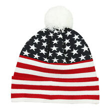 USA Flag Stocking Cap Stars & Stripes Acrylic Watch Cap Winter American Flag