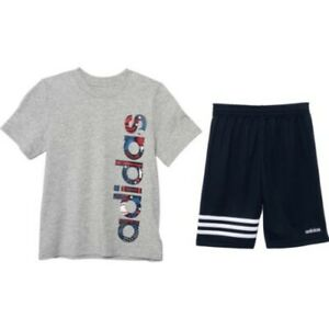 New Adidas Little Boys 2-Pc. Logo T-Shirt & Shorts Set Choose Size MSRP $44