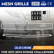 Mesh Grille Fits For Dodge Challenger 2011-2014 Insert Chrome Color Grille