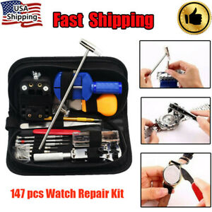 147x Watch Repair Kit Watchmaker Back Case Remover Opener Link Pin Spring Bar US
