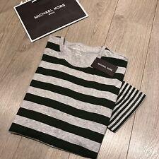 Michael Kors ( ) Mens Green Striped T-shirt Size L 100 Genuine