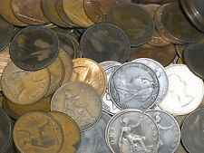 BRITISH PENNIES  20 OLD ONE PENNY COINS  FROM 1897 TO 1967