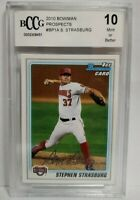 2010 Bowman Prospects BP1 Stephen Strasburg RC Rookie BCCG 10 Mint or Better