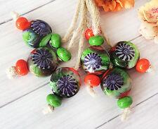 Jewelry Supplies OOAK Handmade Lampwork Glass Beads From Murano Glass 16 Pcs