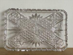 Vintage Original Cut Glass Rectangular Dish Clear Glass Tray Shallow Plate 30cms