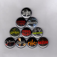 "DEATH METAL 1"" PINS BUTTONS w/ morbid angel carcass obituary entombed nile patch"