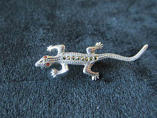 Vintage Sterling Silver Marcasite Lizard Pin Brooch 2.6 Grams