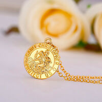 """18k Yellow Gold Rolo Link Chain 24"""" Necklace - Saint Christopher Pendant +GiftPk"""